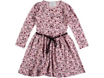 Платье 6/9 лет персиковое в цветочек на пояске 317064